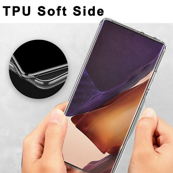 Samsung Galaxy Note20 Ultra Clear Case Slim With 4 Corners [Shock Absorption] Hard Back Soft Bumper Cover