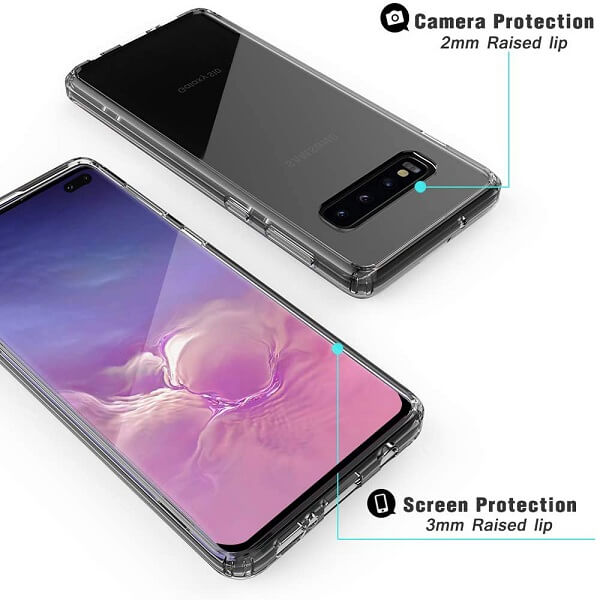 Samsung Galaxy S10 Plus Clear Case Slim With 4 Corners [Shock Absorption] Hard Back Soft Bumper Cover