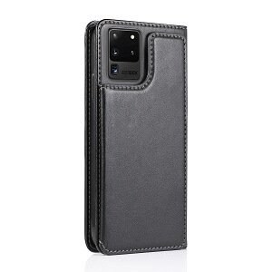 Samsung Galaxy S20 Ultra SupRShield Wallet Leather Card Holder Flip Protective Shockproof Magnetic Case Cover (Black Style 2)