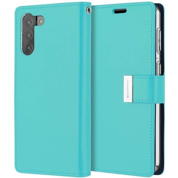 Goospery Galaxy S21 Plus Rich Diary Aqua Wallet Case