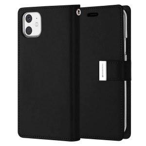 Goospery iPhone 11 Rich Diary Black Wallet Case