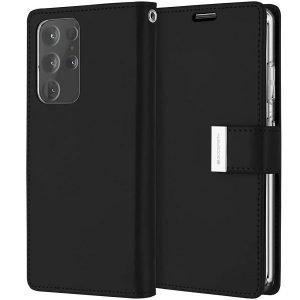 Goospery Galaxy S21 Ultra Rich Diary Black Wallet Case
