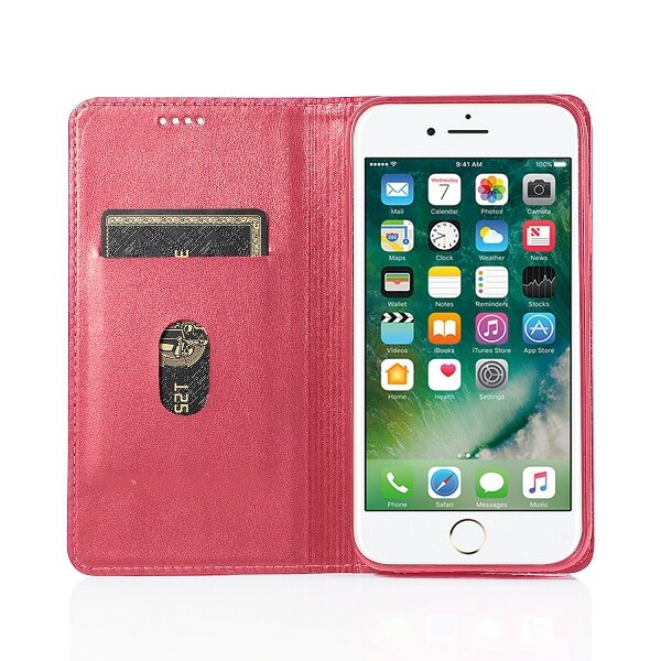 Apple iPhone SE (2020) SupRShield Wallet Leather Card Holder Flip Protective Shockproof Magnetic Case Cover (Hot Pink Style 2)