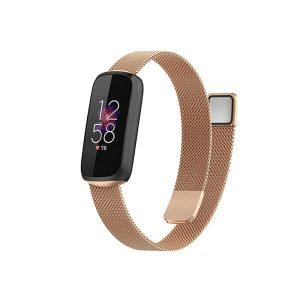 For Fitbit Luxe Magnetic Milanese Band Stainless Steel Loop Mesh Wristband Strap Bracelet (Rose Gold)
