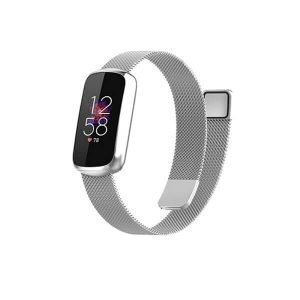For Fitbit Luxe Magnetic Milanese Band Stainless Steel Loop Mesh Wristband Strap Bracelet (Silver)