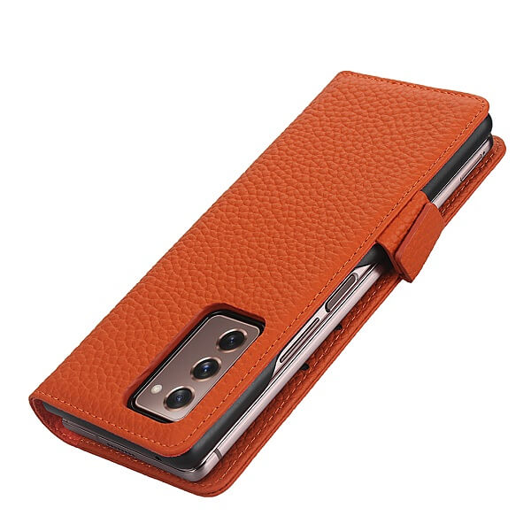 Samsung Galaxy Z Fold 2 Wallet Case Flip Leather Card Slots Magnetic Stand Cover (Orange)