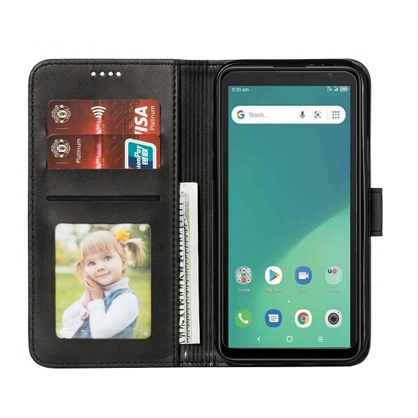 Telstra Essential Plus 3 Wallet Case Flip Leather Card Slots Magnetic Stand Cover (Black)