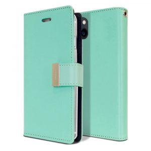 Goospery iPhone 13 Mini Rich Diary Aqua Wallet Case