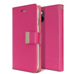 Goospery iPhone 13 Mini Rich Diary Hot Pink Wallet Case