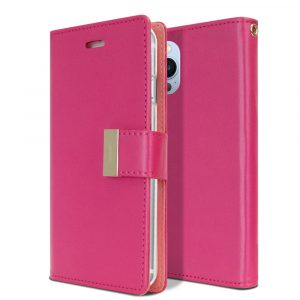 Goospery iPhone 13 Pro Rich Diary Hot Pink Wallet Case