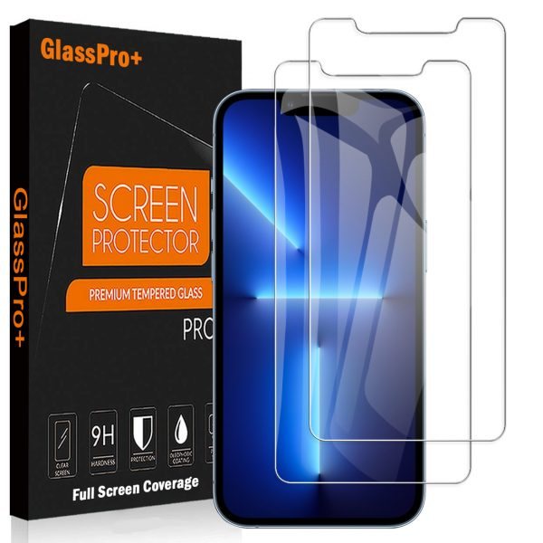 [2 Pack] Apple iPhone 13 Pro Max Screen Protector Tempered Glass Film Guard (Clear)
