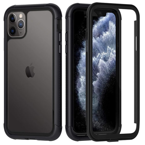Apple iPhone 11 Pro Max Military Grade Full Body Shockproof Clear Heavy Duty Case Bumper Drop Protection Tough Cover (Black)