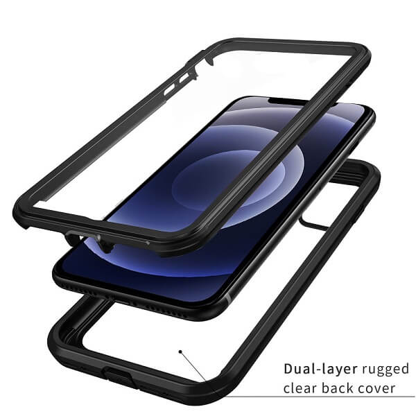 Apple iPhone 12 Military Grade Full Body Shockproof Clear Heavy Duty Case Bumper Drop Protection Tough Cover (Black)