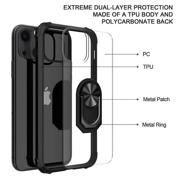 Apple iPhone 13 Mini Magnetic Ring Rugged Shockproof Case Heavy Duty Protective Back Cover (Clear)