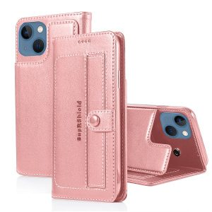 Apple iPhone 13 Mini Wallet Case Flip Leather Card Slots Magnetic Stand Cover (Rose Gold)