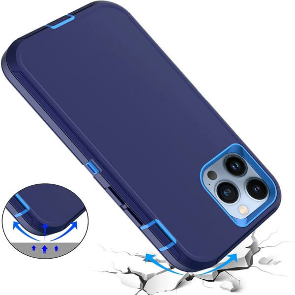 Apple iPhone 13 Pro Case Drop Resistant Defender Tradies Heavy Duty Rugged Shockproof Tough Cover (Navy Blue/Blue)