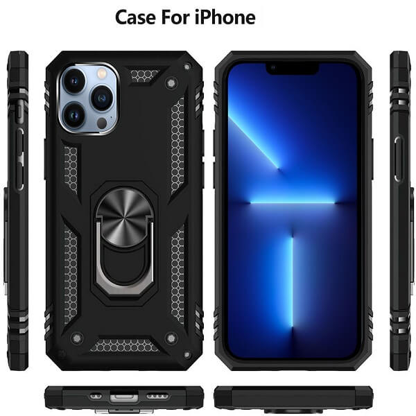Apple iPhone 13 Pro Max Magnetic Ring Rugged Shockproof Case Heavy Duty Protective Back Cover (Black)