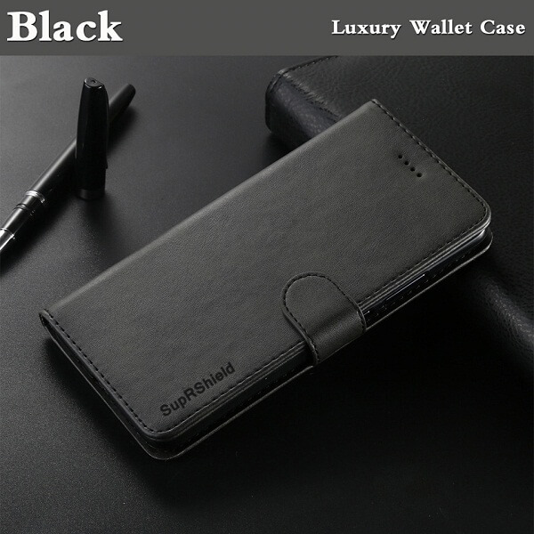 Apple iPhone 13 Wallet Case Flip Leather Card Slots Magnetic Stand Cover (Black)