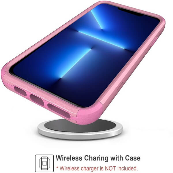 For Apple iPhone 13 Pro Case Drop Resistant Defender Tradies Hybrid Armor Heavy Duty Rugged Shockproof Tough Cover (Rose Gold)