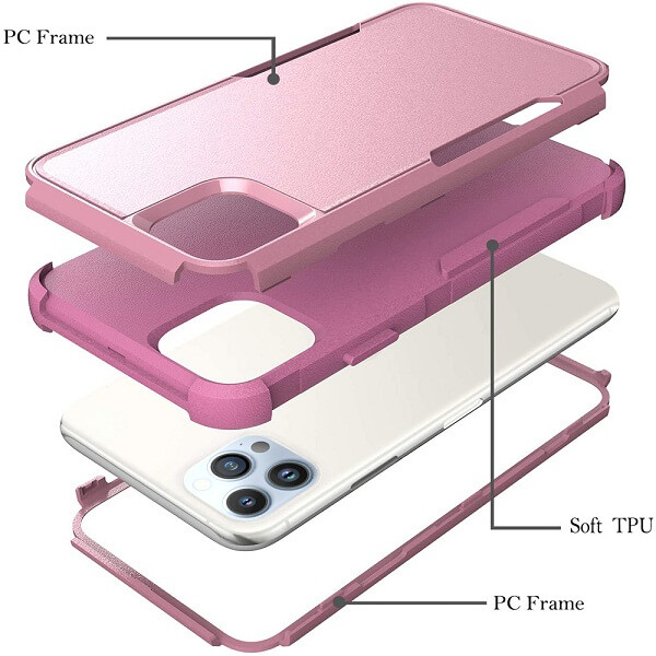 For Apple iPhone 13 Pro Max Case Drop Resistant Defender Tradies Hybrid Armor Heavy Duty Rugged Shockproof Tough Cover (Rose Gold)