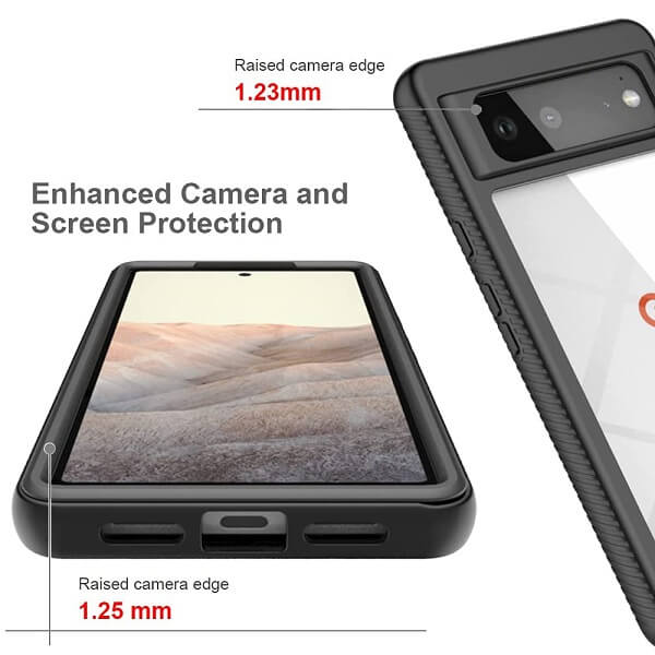 Google Pixel 6 Military Grade Full Body Shockproof Clear Heavy Duty Case Bumper Drop Protection Tough Cover (Black)