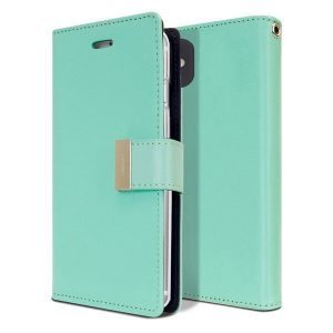 Goospery Apple iPhone 12 Rich Diary Wallet Flip Case Leather Card Slots Magnetic Cover (Aqua)