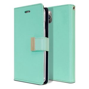 Goospery Apple iPhone 12 pro Rich Diary Wallet Flip Case Leather Card Slots Magnetic Cover (Aqua)