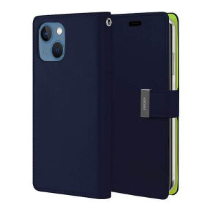 Goospery Apple iPhone 13 Mini Rich Diary Wallet Flip Case Leather Card Slots Magnetic Cover(Navy Blue) IP13M-RIC-NVY