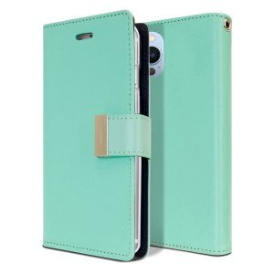Goospery Apple iPhone 13 Pro Max Rich Diary Wallet Flip Case Leather Card Slots Magnetic Cover (Aqua) IP13PM-RIC-MNT