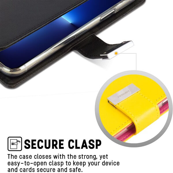 Goospery Apple iPhone 13 Pro Max Rich Diary Wallet Flip Case Leather Card Slots Magnetic Cover(Black) IP13PM-RIC-BLK