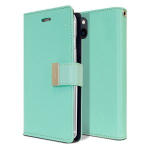 Goospery Apple iPhone 13 Rich Diary Wallet Flip Case Leather Card Slots Magnetic Cover (Aqua) IP13-RIC-MNT