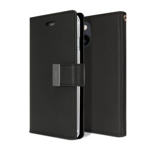 Goospery Apple iPhone 13 Rich Diary Wallet Flip Case Leather Card Slots Magnetic Cover(Black) IP13-RIC-BLK