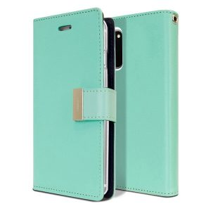 Goospery Samsung Galaxy S20 FE Rich Diary Wallet Flip Case Leather Card Slots Magnetic Cover (Aqua)