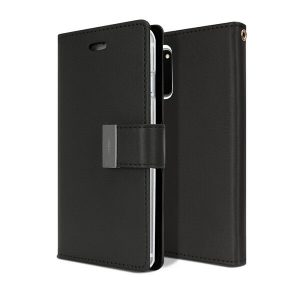 Goospery Samsung Galaxy S20 FE Rich Diary Wallet Flip Case Leather Card Slots Magnetic Cover (Black)