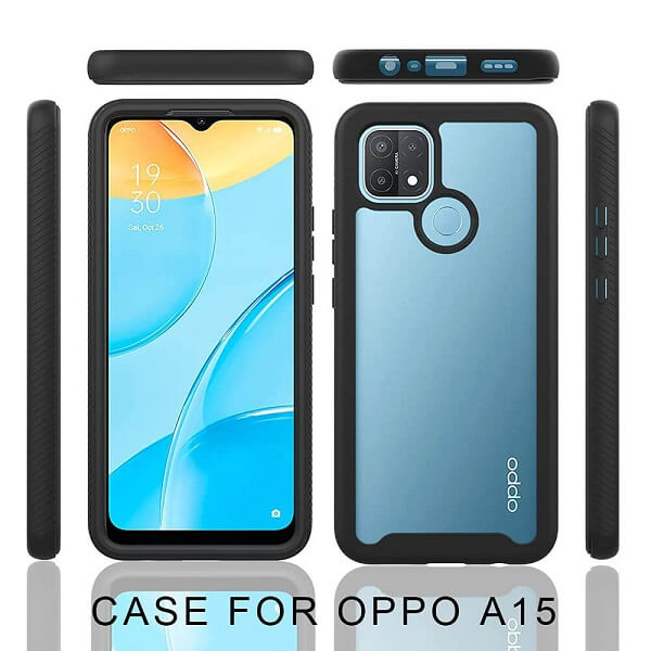 Oppo A15 Military Grade Full Body Shockproof Clear Heavy Duty Case Bumper Drop Protection Tough Cover (Black)