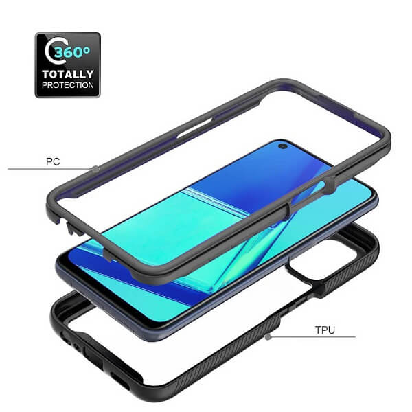 Oppo A52 Military Grade Full Body Shockproof Clear Heavy Duty Case Bumper Drop Protection Tough Cover (Black)