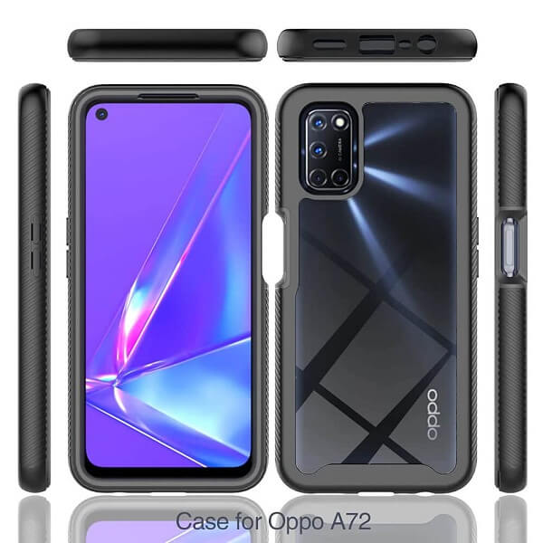 Oppo A72 Military Grade Full Body Shockproof Clear Heavy Duty Case Bumper Drop Protection Tough Cover (Black)