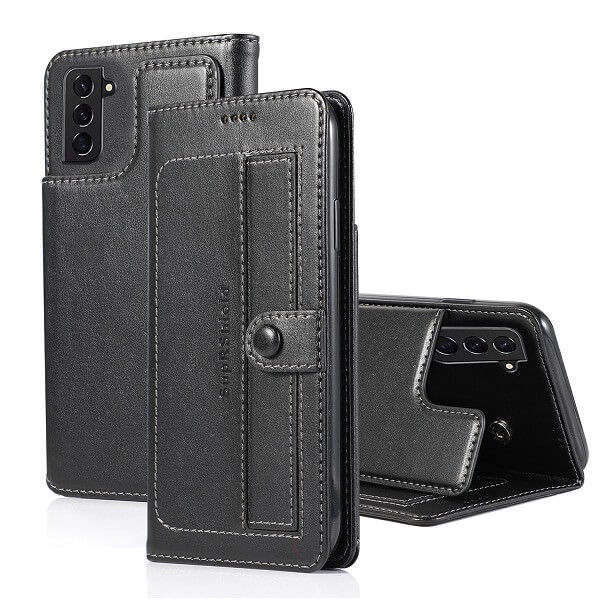 Samsung Galaxy S21 FE Wallet Case Flip Leather Card Slots Magnetic Stand Cover (Black)