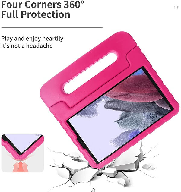 Samsung Galaxy Tab A7 Lite 8.7 inch SM- T220/T225 kids Case, Kickstand Shockproof Protective Handle Stand Light Weight Kids Friendly Cover (Black)