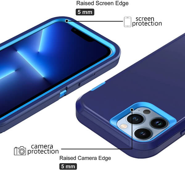 Apple iPhone 13 Pro Max Case Drop Resistant Defender Tradies Heavy Duty Rugged Shockproof Tough Cover (Navy Blue /Blue)