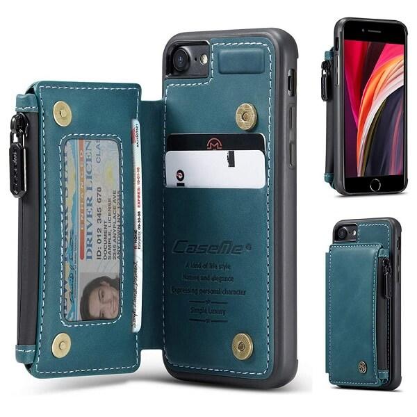 Apple iPhone SE 2020 CaseMe Back Zipper Wallet Case W/ 3 Card Slots, RFID Blocking, 1 Money Pocket, Credit Card Holder Leather Cover (Teal Blue)