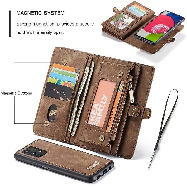 CaseMe For Samsung Galaxy A52s 5G Zipper & Detachable Retro Leather Pouch Wallet Flip Purse Bag Detachable Phone Case Cover (Brown)