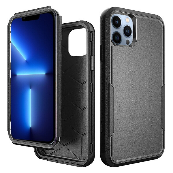 For Apple iPhone 13 Pro Max 3in1 Case Drop Resistant Defender Tradies Hybrid Armor Heavy Duty Rugged Shockproof Tough Cover (Black)
