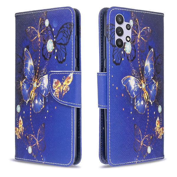 Samsung Galaxy A52s 5G Wallet Case Flip Leather Card Slots Magnetic Stand Cover (Blue Butterfly)