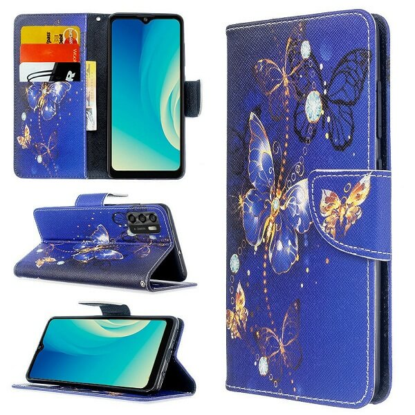 ZTE Blade A7S 2020 Wallet Case Flip Leather Card Slots Magnetic Stand Cover (Blue Butterfly)